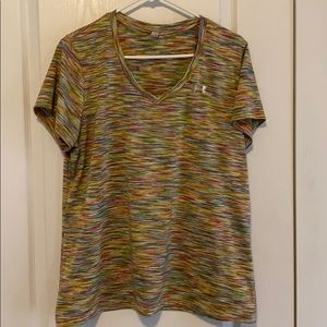 L Under Armour v neck tee. Size tag removed. GUC